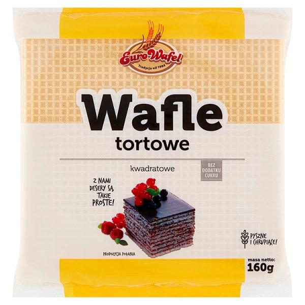 Eurowafel Wafle tortowe kwadratowe 160 g