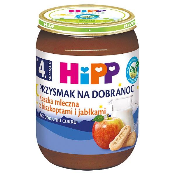 HiPP BIO Przysmak na Dobranoc Kaszka mleczna z biszkoptami i jabłkami po 4. miesiącu 190 g
