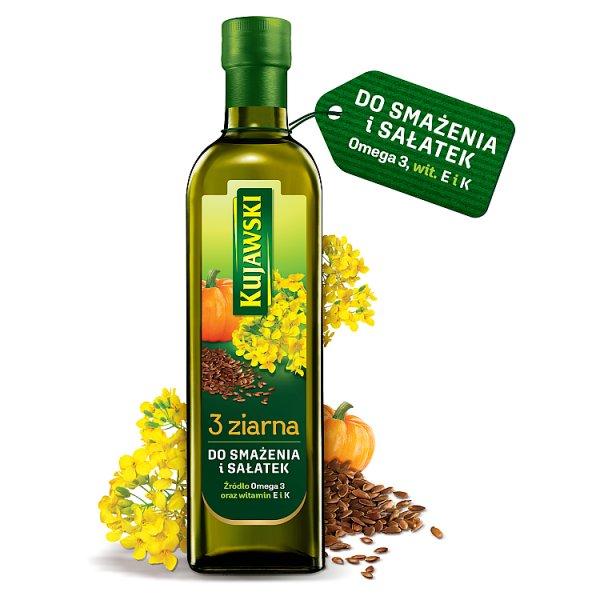 Kujawski 3 ziarna Olej rzepakowy z olejami z lnu i pestek dyni 750 ml