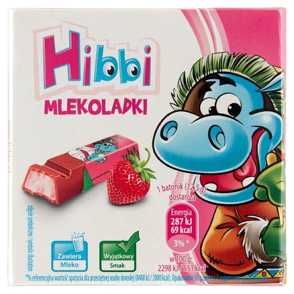 Hibbi Mlekoladki Batoniki mleczne z nadzieniem o smaku jogurtowo-truskawkowym 50 g