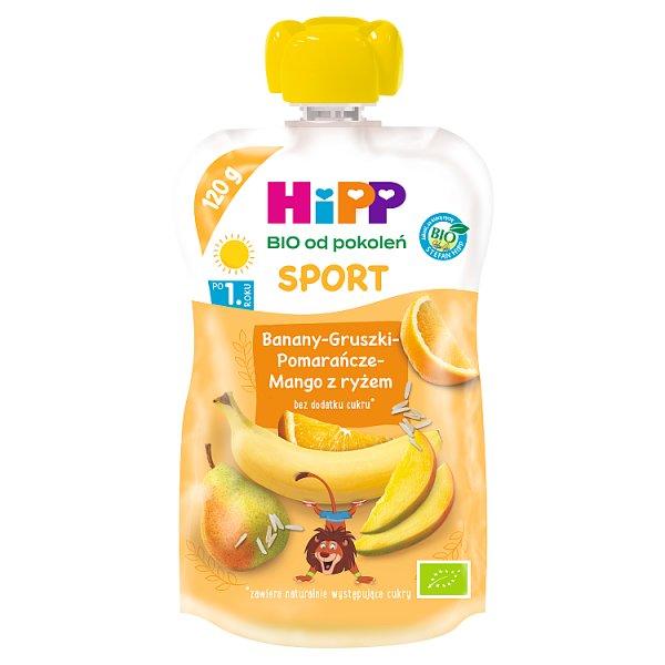 HiPP BIO Sport Mus owocowy po 1. roku banany-gruszki-pomarańcze-mango z ryżem 120 ml
