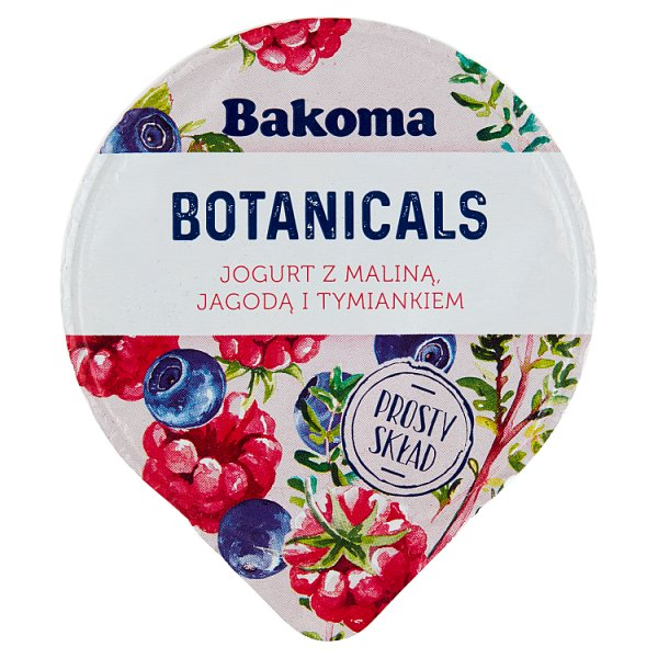 Bakoma Botanicals Jogurt z maliną jagodą i tymiankiem 140 g