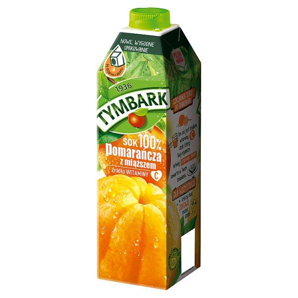 Tymbark Sok 100% pomarańcza z miąższem 1 l