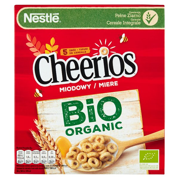 Nestlé Cheerios Miodowy Bio Organic Płatki śniadaniowe 210 g