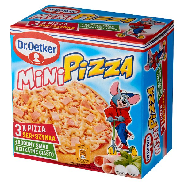 Dr. Oetker Mini pizza ser + szynka 270 g (3 sztuki)