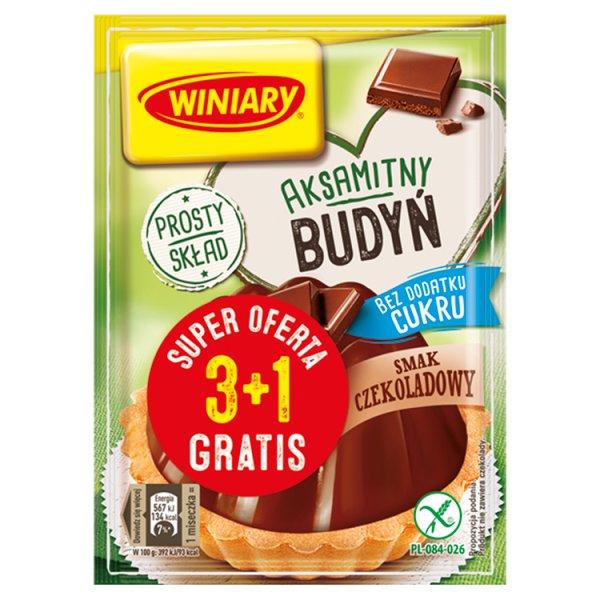 Winiary Budyń bez dodatku cukru smak czekoladowy 4 x 38 g