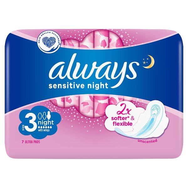 Always Ultra Sensitive Night Podpaski ze skrzydełkami (rozmiar 3)