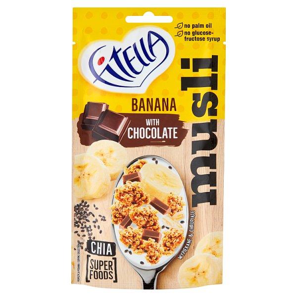 Fitella Musli chrupkie bananowe z kawałkami czekolady i nasionami chia 50 g