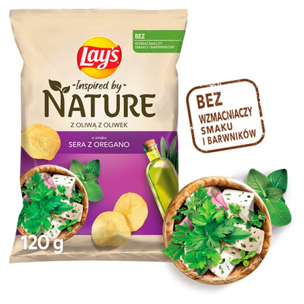 Lay's Inspired by Nature Chipsy ziemniaczane o smaku sera z oregano 120 g