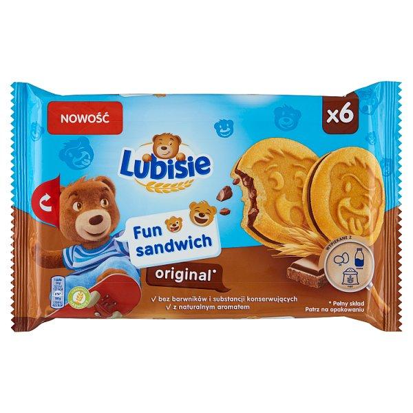Lubisie Fun Sandwich Original Ciastka biszkoptowe przekładane nadzieniem kakaowym 180 g (6 sztuk)