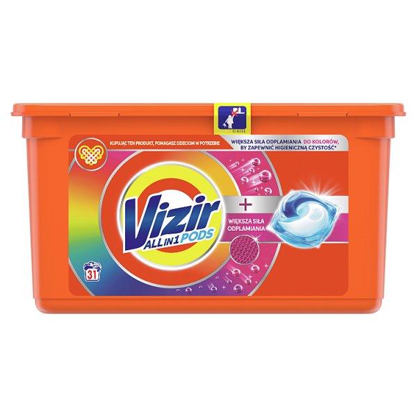 Vizir All in1 + WIĘKSZA SIŁA ODPLAMIANIA DO KOLOROW Kapsułki do prania, 31prań