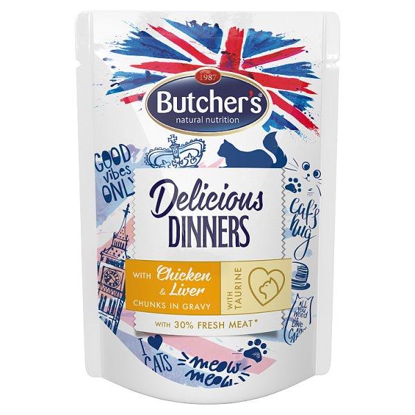 Butcher's Delicious Dinners Karma dla dorosłych kotów kawałki w sosie z kurczakiem i wątróbką 100 g