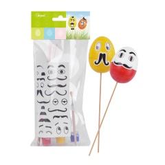 Zestaw dekoracji kreatywnych na piku (jajka x3, wąsiki, farbki)