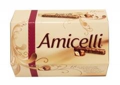Rurki waflowe Amicelli z kremem orzechowym i polewą czekoladową