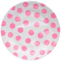 Talerzyki papierowe groszki różowe 18 cm 6 szt