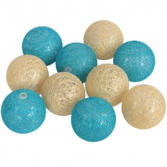 Cotton ball 10 szt. złote - turkusowe