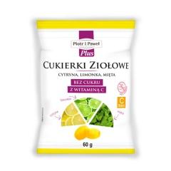 Cukierki ziołowe cytryna, limonka, mięta, bez cukru z witaminą C