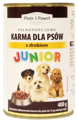 Karma mokra dla psa Junior z drobiem Piotr i Paweł