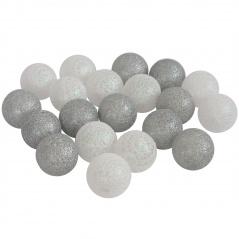 Cotton ball biało-srebrne 20szt.