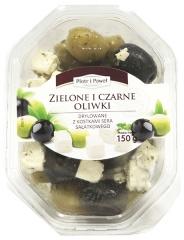 Zielone i czarne oliwki drylowane z serem