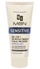 AA Men Sensitive żel 3w1 do mycia twarzy, ciała i włosów nawilżający