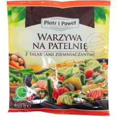Warzywa na patelnię z talarkami ziemniaczanymi
