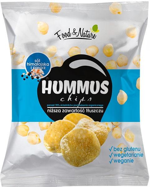 Hummus chips z solą himalajską z pieprzem
