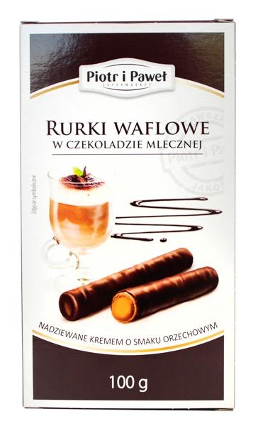 Rurki waflowe w czekoladzie Piotr i Paweł orzechowe