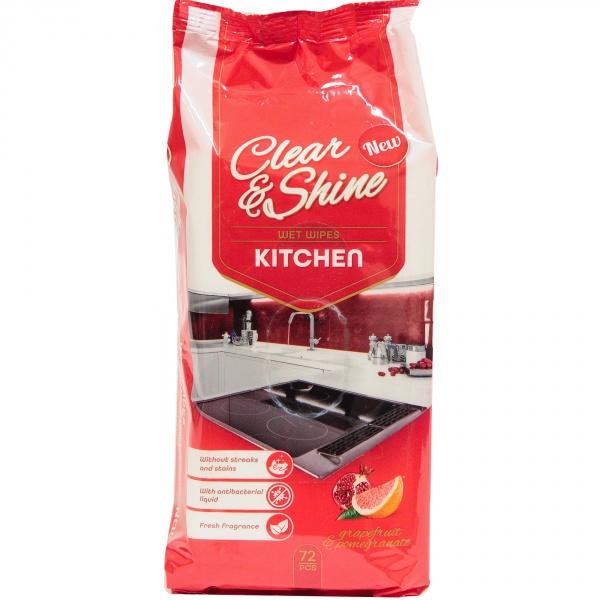 Clear&shine nawilżane chusteczki do kuchni