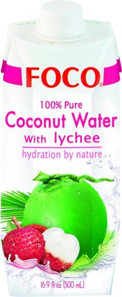 Woda kokosowa Foco z lychee