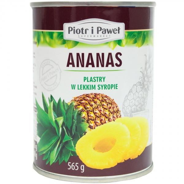 Ananas plastry w lekkim syropie