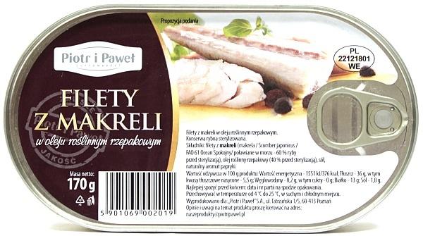 Filety z makreli w oleju roślinnym Piotr i Paweł