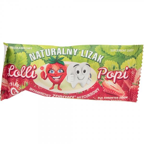 Naturalny lizak lolli popi o smaku truskawkowym