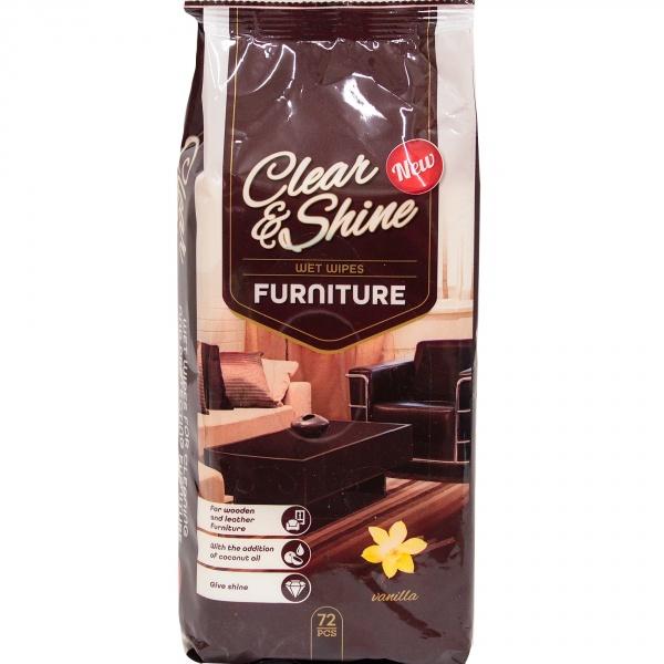 Clear&shine nawilżane chusteczki do mebli