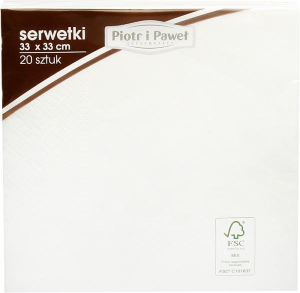 Serwetki 3w 33x33cm białe Piotr i Paweł 20szt