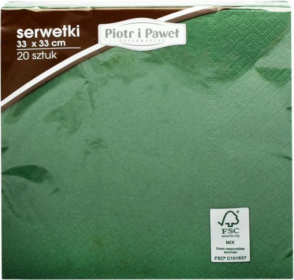 Serwetki 3w 33x33cm ciemnozielone piotr i paweł 20szt