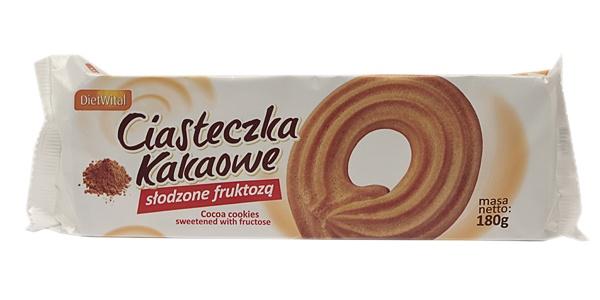 Ciasteczka kakaowe słodzone fruktozą