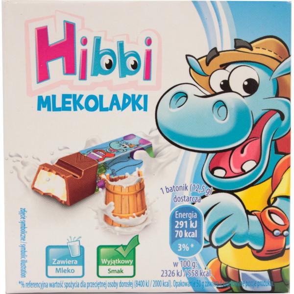 Batoniki hibbi mleczne z nadzieniem mlecznym