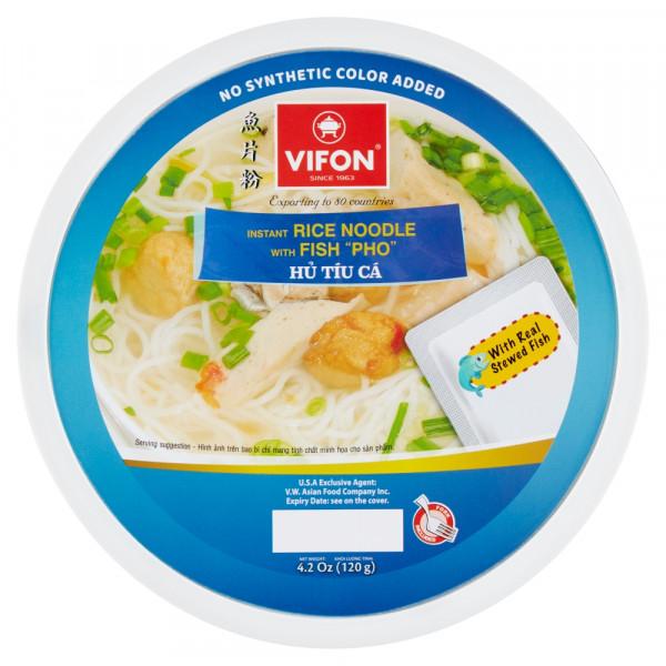 Zupa Vifon pho z kawałkami ryby i kluskami ryżowymi miska