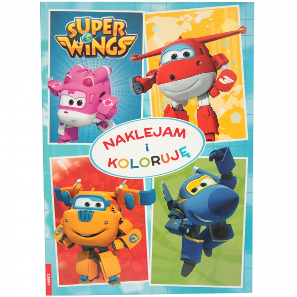 """ Super Wings "" naklejam i koloruję"