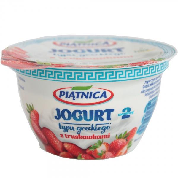Jogurt Piątnica typu greckiego z truskawkami