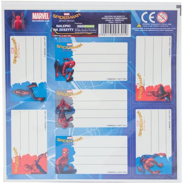 Nalepki na zeszyty Spider-Man HomeComing 2 szt.
