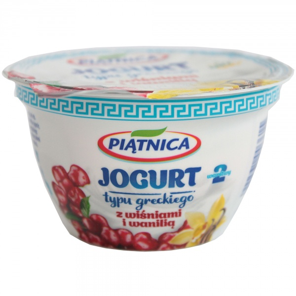 Jogurt Piątnica typu greckiego z wiśniami i wanilią