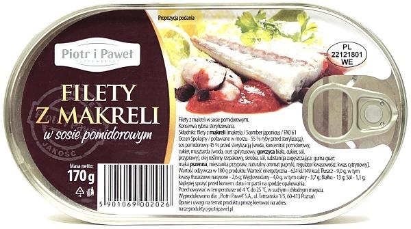 Filety z makreli w sosie pomidorowym Piotr i Paweł