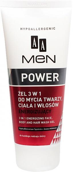 AA Men Power żel 3w1 do mycia twarzy, ciała i włosów energizujący