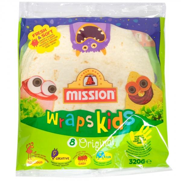 Mission Wraps Kids Original Tortilla z mąki pszennej 320 g (8 sztuk)