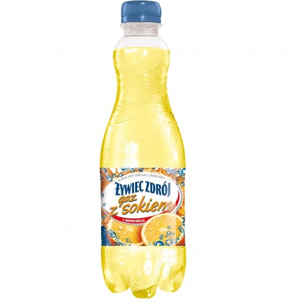 Żywiec Zdrój Gaz z Sokiem gazowany o smaku pomarańczowym 0,5 l