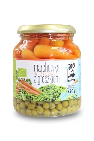 Marchewka w zalewie z groszkiem w słoiku-bio europa